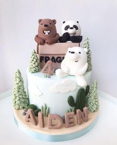 25th Birthday Cakes, Bear Birthday, Panda Cakes, Bear Cakes, Pretty Cakes, Cute Cakes, Bolo Panda, Giraffe Cakes, Cute Baking