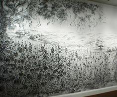 Judith Braun's Diamond Dust.  Hand Painted Charcoal Mural
