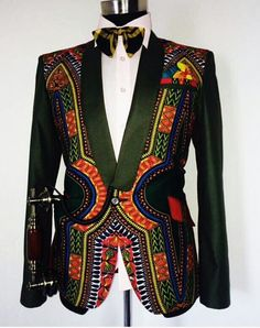 etsy Dashiki Mens Jacket with waist coat, African dashiki suit, dashiki for men… African Inspired Fashion, African Print Fashion, Africa Fashion, Fashion Prints, Fashion Design, African Attire, African Wear, African Dress, African Style