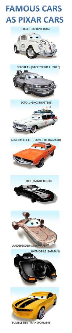 Famous cars, Pixar style
