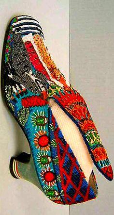 "At the Met ""Le Bal"" Paul Poiret designed beaded shoes 1924 Detail"