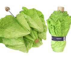 Promote healthy eating while staying dry in stormy weather with the romaine lettuce head umbrella. This compact and lightweight novelty umbrella comes with an amusing lettuce graphic that creates the illusion you're toting around an actual lettuce head.