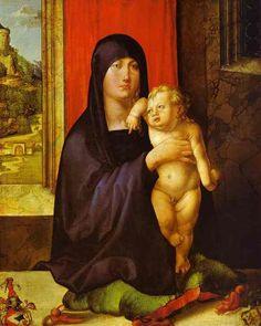 Acheter Tableau 'Vierge et l Enfant' de Albrecht Durer - Achat d'une reproduction sur toile peinte à la main , Reproduction peinture, copie de tableau, reproduction d'oeuvres d'art sur toile