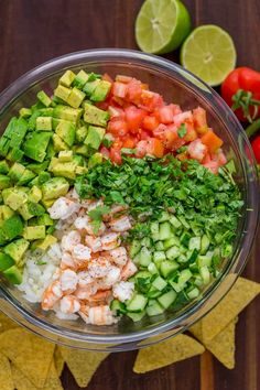 This Avocado Shrimp Salsa is a party favorite! Loaded with shrimp, avocado and a. - This Avocado Shrimp Salsa is a party favorite! Loaded with shrimp, avocado and a surprising ingredi - Seafood Recipes, Diet Recipes, Mexican Food Recipes, Cooking Recipes, Crockpot Recipes, Turkey Crockpot, Cooking Tips, Chicken Recipes, Recipies