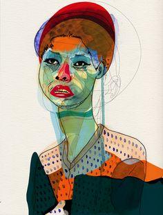 Sarah Pinyan posted Alvaro Tapia Hidalgo Portraits to her -nice signs- postboard via the Juxtapost bookmarklet. Modern Art, Contemporary Art, Abstract Portrait, Art Moderne, Art Sketchbook, Face Art, Art Inspo, Painting & Drawing, Illustrators
