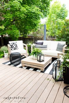 Welcome to our backyard patio deck! We finally created an easy outdoor living space that our family loves. And we are enjoying every minute! Outdoor Living Furniture, Outdoor Rooms, Outdoor Sitting Areas, Outdoor Pool Furniture, Outdoor Areas, Outdoor Deck Decorating, Outdoor Decor, Patio Decorating Ideas, Outdoor Decking