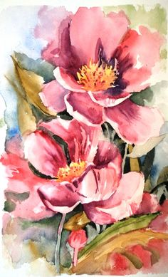 Apple Blossom Watercolor video Note to self. Description f Acrylic Painting Flowers, Abstract Flowers, Watercolor Flowers, Watercolor Video, Watercolor Cards, Watercolor Paintings, Watercolour, Art Floral, Botanical Art