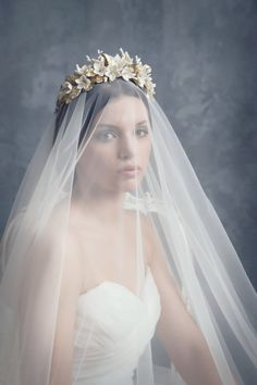 Floral bridal crown. Wedding floral crown. by LenaRomHeadpieces