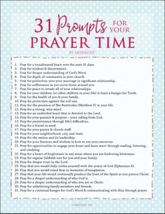 31 prompts for your prayer time - use this FREE printable to keep the prompts handy!