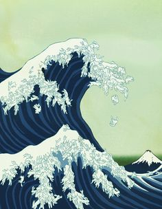 """Homage to Hokusai's """"Great Wave Off Kanegawa"""" made for cover of Giant Robot Magazine in 2003."""