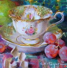 Tuesday Teacup by Elena Katsyura Oil ~ 6 in x 6 in