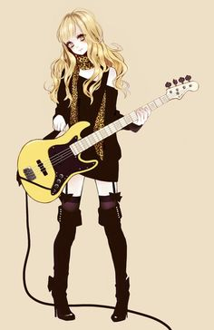 Anime girl playing or holding a guitar, who knows if she's going to play it