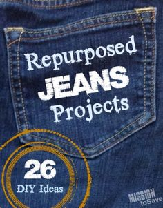 Roundup of Repurposed Jeans Projects.  Check out 26+ DIY Ideas