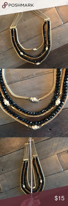 """💍 Gold & Black Multi Strand Statement Necklace 4 strand gold chain and black bead statement necklace. Excellent used condition! Total length approximately 23"""". Bundle jewelry marked with a 💍 to save-$30 worth for $20 or $20 worth for $15. Jewelry Necklaces"""