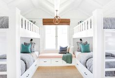 The homeowners wanted a fun retreat to house all their grandkids, and four built-in bunk beds proved the perfect solution. Built in bunk beds. Home decor and decorating ideas. Bunk Beds Built In, Cool Bunk Beds, Kids Bunk Beds, Twin Beds, Build In Bunk Beds, Amazing Bunk Beds, Built In Beds For Kids, Custom Bunk Beds, Double Bunk Beds