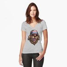 'American Golden Retriever' Fitted V-Neck T-Shirt by LazyKoala American Golden Retriever, V Neck T Shirt, Chiffon Tops, Classic T Shirts, T Shirts For Women, Printed, Awesome, Fitness, People