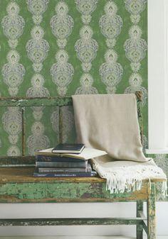Indo Chic Galerie Wallpaper Green Homedecor Boho Rustic Bohemian