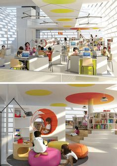 Library Design Children's Library ying yang public library by evgeny markachev + julia kozlova The Design Language of Form, Colour, Line & Light depicted in a functional children's library. School Library Design, Kids Library, Public Library Design, Classroom Design, Modern Library, Library Ideas, Architecture Design, School Architecture, Architecture Interiors