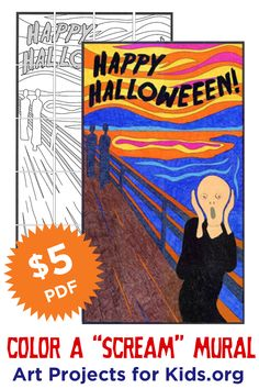 """Make your own Halloween Scream mural. Buy the PDF once and print as many as you want. Measures 30"""" x 52"""" when complete. #halloween #collaborativeart"""