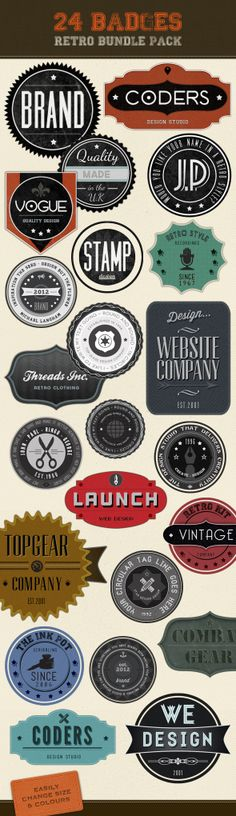 Retro Badges - Faded Vintage Labels on the Behance Network