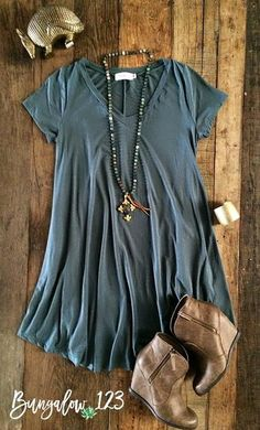 B123 Luxe Bamboo V-Neck Tunic Dress - Muted Green - Bungalow 123 - 1