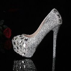 The crystal shoe  Wedding shoes  Rhinestone shoe  Bride's shoes  Dress shoes  Party shoes  High heeled shoes