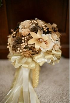 Wedding Bouquet made of Wooden Flowers - Custom Order