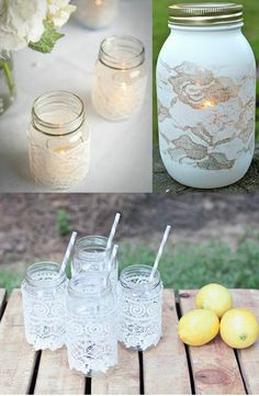 Love the drinking jars w/lace!  Courtesy of (clockwise upper left) - Oh Lovely Day, Pinterest and Somewhere Splendid - Lace Wedding Details, Merrily Wed