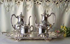 Vintage Tea Service Sheridan Silver Plate Tea by cynthiasattic