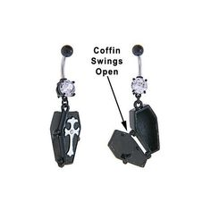 Amazon.com: Emo Goth Vampire Black Opening Coffin Dangle Belly button... ($9) ❤ liked on Polyvore featuring jewelry, gothic jewellery, goth jewelry, button jewelry, dangling jewelry und black jet jewelry