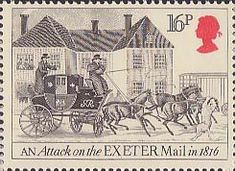 Great Britain - The Royal Mail - An attack on the Exeter Mail, 1816 Uk Stamps, Postage Stamps, Exeter, Commemorative Stamps, Going Postal, Royal Mail, Penny Black, Stamp Collecting, Mail Art