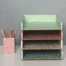 Floral Magnetic Closure File Box Available In Four Colours: Blue, Mint,  Rose And White. FLORAL STACKING STORAGE TRAY