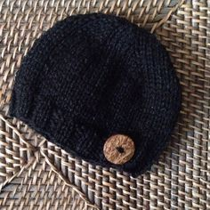 Newborn Sitter Knit Heathered Black Beanie Hat Coconut Button Photo Prop Additional colors available.  Hand made by me in a smoke-free, pet-free home.  Made to Order.  See Shipping & Policies tab for current production time.