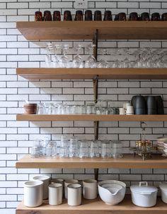 Kitchen | Shelving | Wooden | Brick | White Brick | Modern | Livingetc