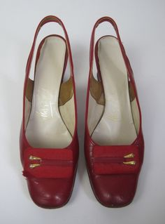 Vintage 1960s Oxblood Red Patent Leather Mod Sling Back Heels available to buy online at Virtual Vintage Clothing £18