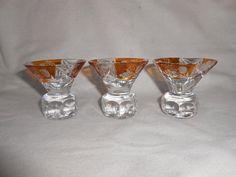 1930s Glass Original Set Of 5 Czech Bohemian Panel Sided Polished Shot Glasses