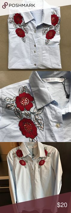 NWOT Zara Floral Blue Button Down Amazing shirt bought at Athens, Greece Zara. Never worn just missing tag. Blue cotton with red floral pattern at top. Longer shirt with longer cuffs that look great kept open. Zara Tops Button Down Shirts