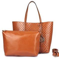 Trendy cognac shopper tas