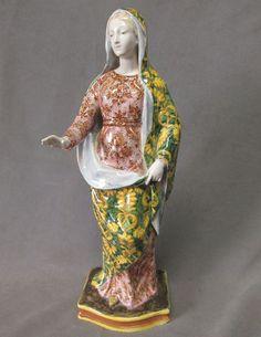 Antique Italian Faience Majolica Madonna ANGELO MINGHETTI