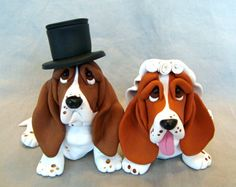 wedding cake toppers, clays, clay sculptures, dog cake topper, dogs, weddings, bassett hound, wedding cakes, basset hound