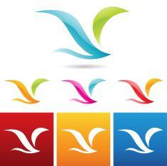 glossy abstract bird icons vector art illustration