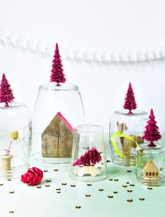 Jars and vases with tiny neon pink trees
