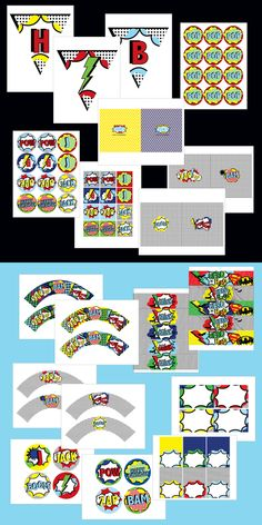 Image of Vintage Modern printable Superhero Collection- Birthday Party or Baby Shower by Wants and Wishes