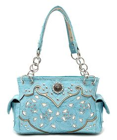Look what I found on #zulily! Aqua Embellished Satchel #zulilyfinds