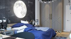 The third bedroom is astronomically stylish, perfect for a stargazer of any age. The bright moon light that hangs over the bed glows brightly while a high tech telescope lets whoever inhabits the room make their own nightly discoveries.
