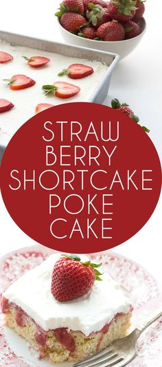Your ultimate low carb summer strawberry dessert. A shortcake and a poke cake in one! Make it with THM Baking Blend or almond flour.