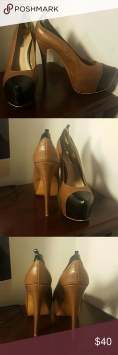 H by Halston Pumps Sexy camel and black pumps. Worn 1x! No ankle straps! H by Halston Shoes Heels
