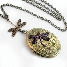 Etched Bronze Locket  Flight of the Dragonfly by TrashAndTrinkets, $28.00