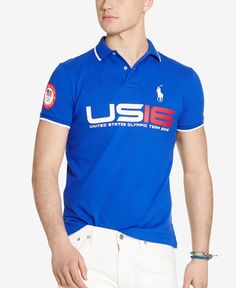 Part of Ralph Lauren's collection celebrating the 2016 U.s. Olympic Team, this trim-fitting cotton mesh polo shirt features sporty graphics commemorating the summer games in Rio de Janeiro. | Cotton |