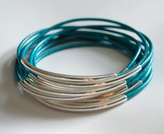 Turquoise Leather Bangle Bracelet with by CorinnaMaggyDesigns, $23.00 Mix and match these bangles!